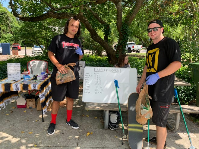 Hunter Gilliam and Trevor Heimbach helped with the Skate & Sweep cleanup at Greenfield Park.