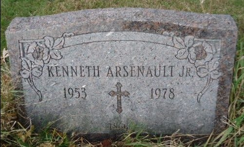 The headstone marking the grave of Kenneth Arsenault Jr. who died of a stab wound in New Bedford in 1978. The cold case is being reviewed by the Bristol County District Attorney's office.