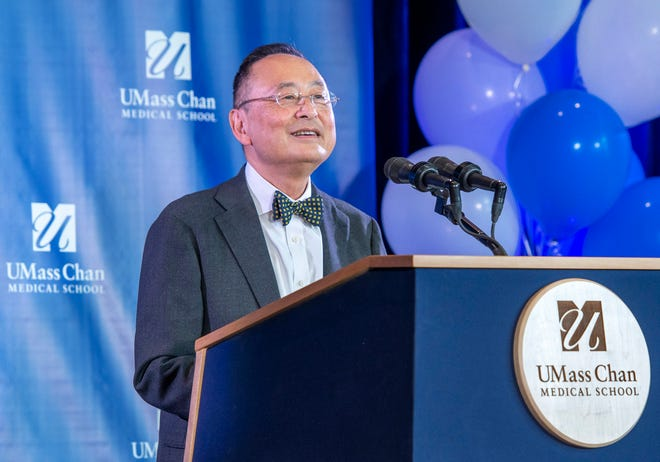 Gerald Chan speaks during a ceremony at the newly named UMass Chan Medical School Tuesday.