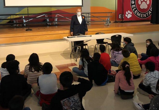Retired Lt. Col. Winston Fulmer presented the flag etiquette program to Sunnymede Elementary School students on Sept. 7.