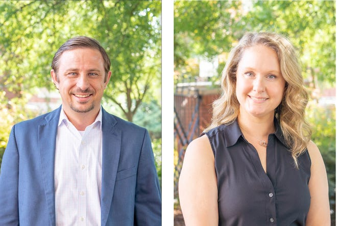 Tuscaloosa Mayor Walt Maddox has named Jarrod Milligan, left, the city's new executive director of Infrastructure and Public Services and Carly Standridge as the city's new chief finance officer. Their new positions become official on Sept. 11, 2021.