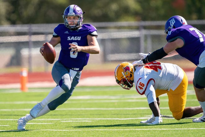 Southwestern Assemblies of God quarterback Jordan Barlow scrambles for yardage during a recent game. The Lions scored with 5 seconds left on Saturday to open the season with a 20-13 victory at Louisiana College.