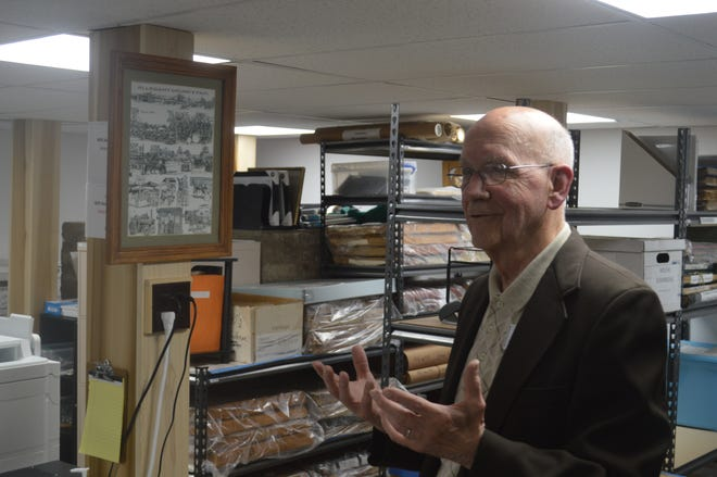 Ron Taylor introduces the new document storage room at the Allegany County Historical Center. The new storage room is climate controlled.