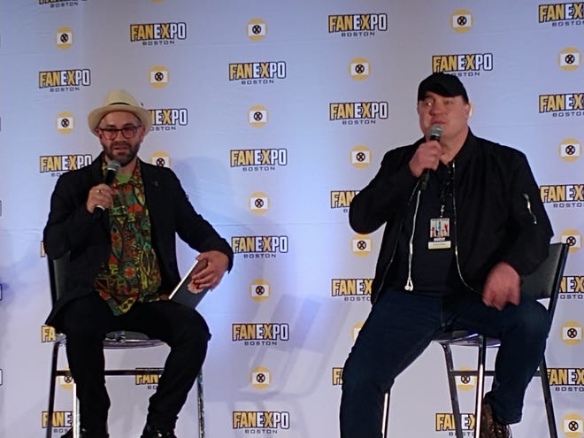 Moderator Aaron Sagers, left, and Brendan Fraser at the FAN EXPO Boston.