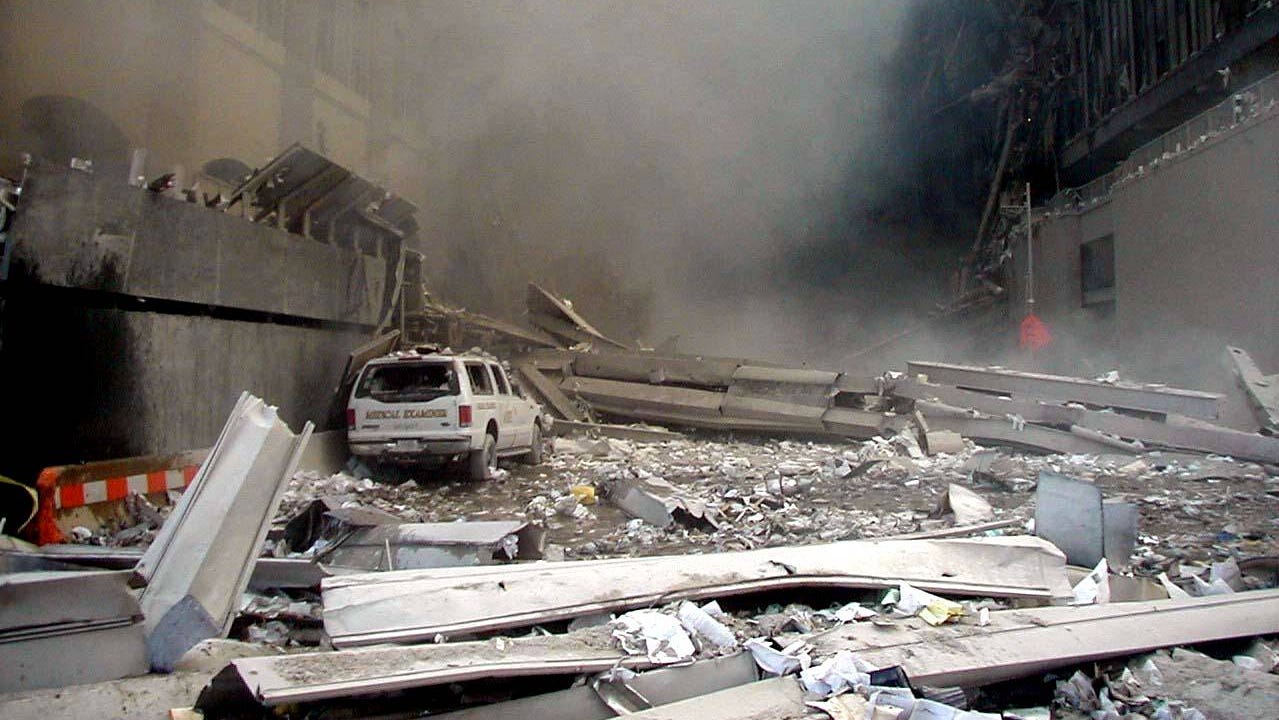 New York City's Office of Chief Medical Examiner truck where Mark Desire and his team had been working before the twin towers fell on Sept. 11, 2001.
