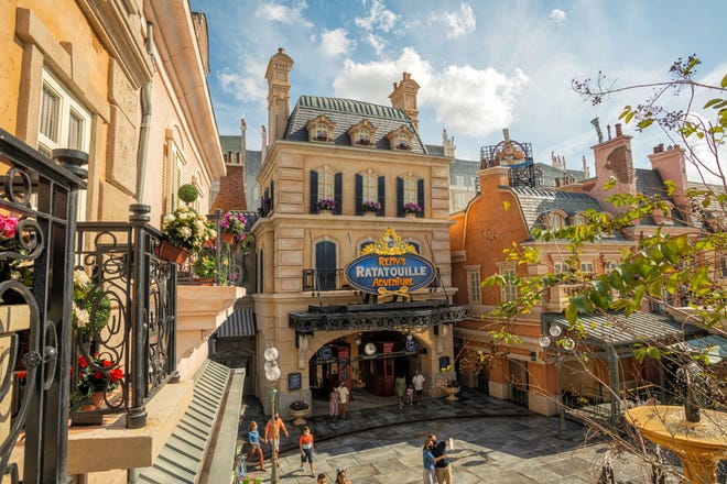 The newly expanded France Pavilion at Walt Disney World's Epcot park features Remy's Ratatouille Adventure, a trackless dark ride opening Oct. 1.