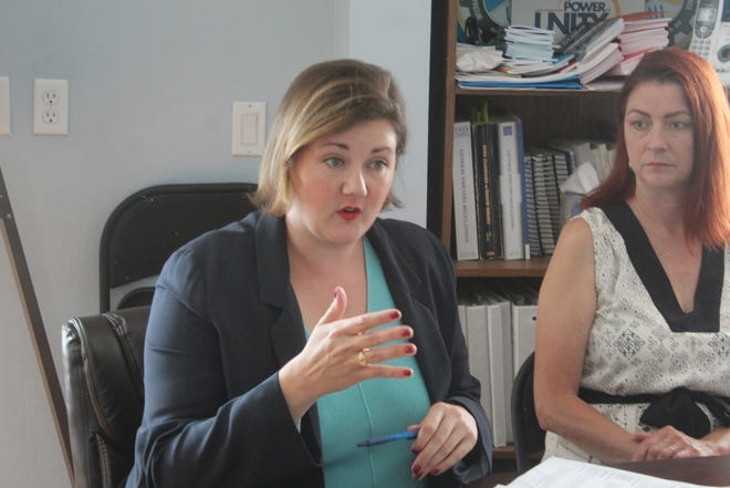 Ohio Democratic Party Chair Elizabeth Walters, pictured here with Fremont Treasurer Holly Elder, and the Ohio Democratic Party hosted a roundtable at USW Local 1915 in Fremont Tuesday with local Democratic city officials, candidates and regional labor leaders.