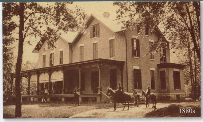 """This early photo of the Hayes house was taken about the time the family was returning to Fremont from the White House in 1881. The section to the right had been recently completed, and the large addition at the back familiar today would soon be constructed a fewyears later.According to his diary, the President Rutherford B. Hayes and Lucy were """"the two happiest people in the country"""" to be back home inSpiegel Grove. (Submitted by Larry Michaels andKrista Michaels)"""