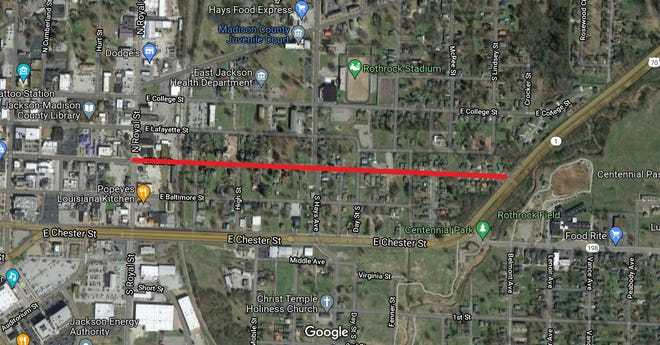 Trucks over seven tons will be restricted from driving down East Main Street between North Royal Street and the Highway 70 bypass, shown here in red.