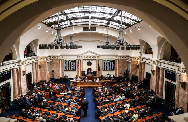 The House of Representatives on the first day of the special legislative session at the Kentucky state Capitol on Tuesday.  Sept. 7, 2021.