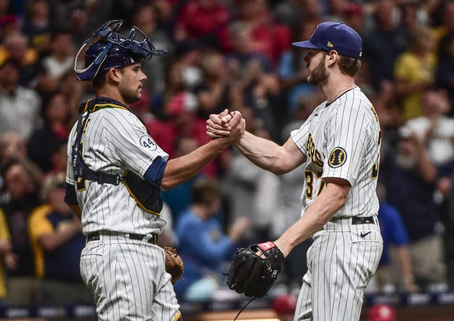 Brewers backup Luke Maile was behind the plate for all nine innings of Adrian Houser's complete-game shutout for Cardinals on Sept. 4.