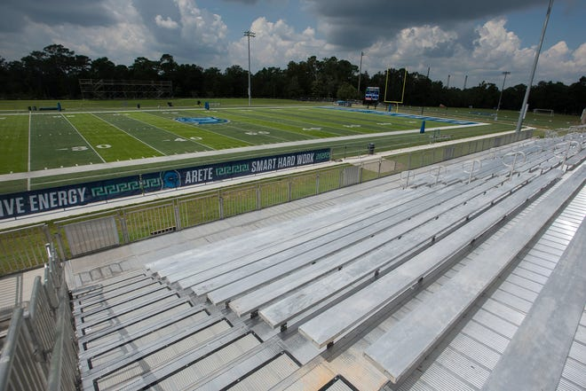 The University of West Florida will host its first on-campus football game on Saturday, Sept. 11, 2021. On Tuesday, Sept. 7, the seating for the Argo fans attending the weekend's home opener was already in place.