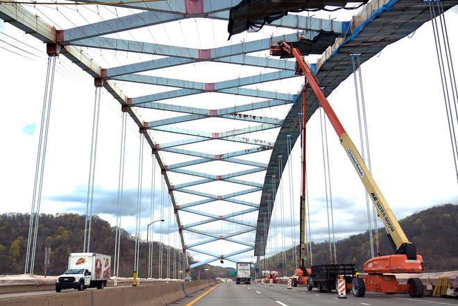 Work is shown being done the Neville Island Bridge preservation project near Pittsburgh. The bridge carries Interstate 79 over the Ohio River. Legislation is in Congress to improve our nation's infrastructure. (AP Photo/Gene J. Puskar)