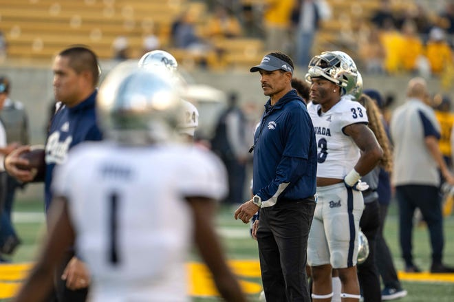Nevada head coach Jay Norvell looks on before the game against Cal at Memorial Stadium.