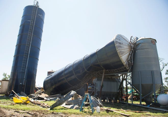 Damage to Wellacrest Farms is shown after a tornado passed through the area earlier in Mullica Hill, N.J., on Thursday, Sept. 2, 2021.  The Eachus family owns and operates Wellacrest Farms, home to 1,400 Holsteins cows.