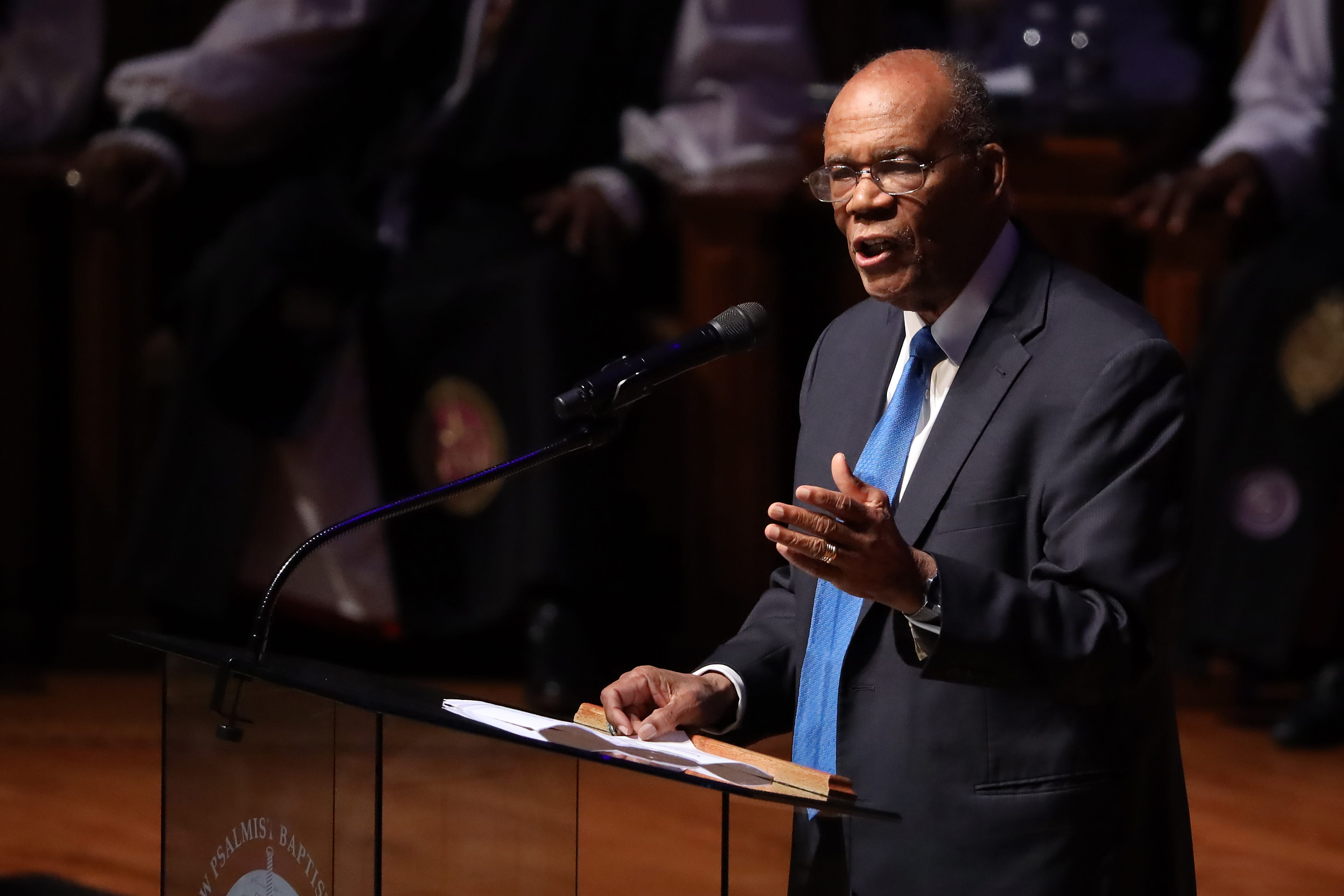 Larry Gibson delivers remarks during the funeral service for Rep. Elijah Cummings (D-MD) at New Psalmist Baptist Church on October 25, 2019 in Baltimore, Maryland. A sharecropperÕs son who rose to become a civil rights champion and the chairman of the powerful House Oversight and Government Reform Committee, Cummings died last week of complications from longstanding health problems.