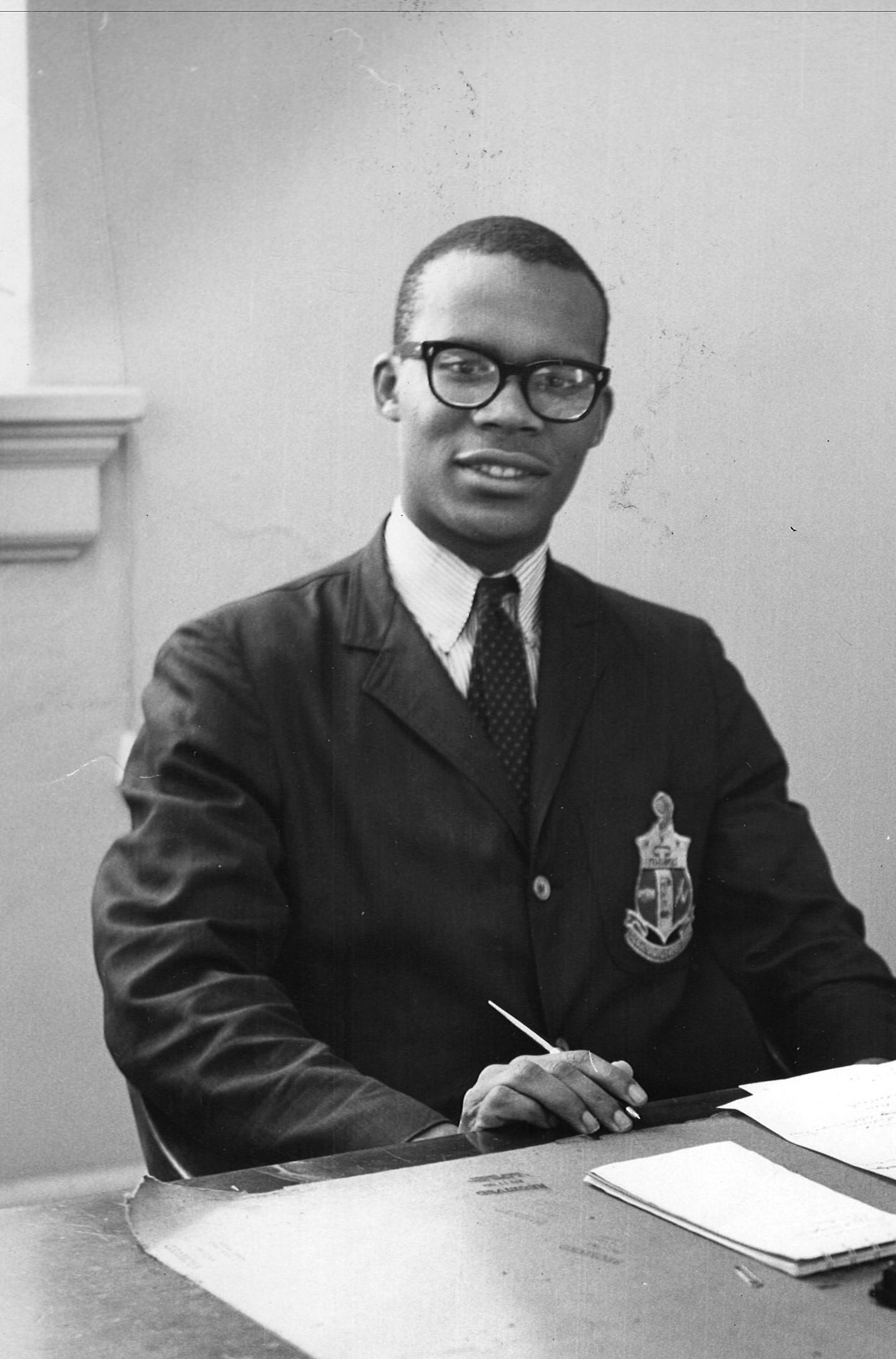 Larry Gibson as a student at Howard University. Gibson was a Howard University sophomore when he and his classmates participated in the November 1961 sit-ins being conducted throughout Anne Arundel County as part of the Route 40 desegregation campaign in Maryland. Two years later, he would be Howard student body president.