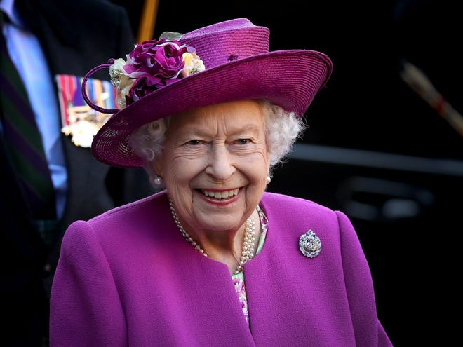 Queen Elizabeth II after opening the Argyll and Sutherland Highlanders' Museum during a visit to Stirling Castle on June 29, 2021 in Stirling, Scotland.