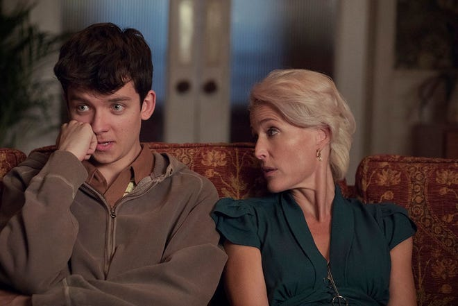 """Asa Butterfield as Otis and Gillian Anderson as his sex therapist mother Jean in """"Sex Education."""""""