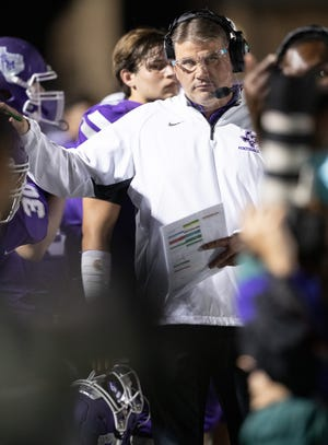San Marcos head coach John Walsh led the Rattlers to a 62-49 win over Hays Friday.