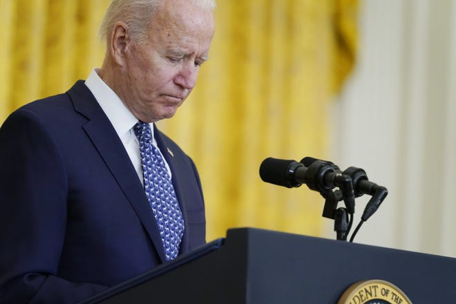President Joe Biden speaks during an event to celebrate labor unions, in the East Room of the White House, Wednesday in Washington. [AP PHOTO/EVAN VUCCI]