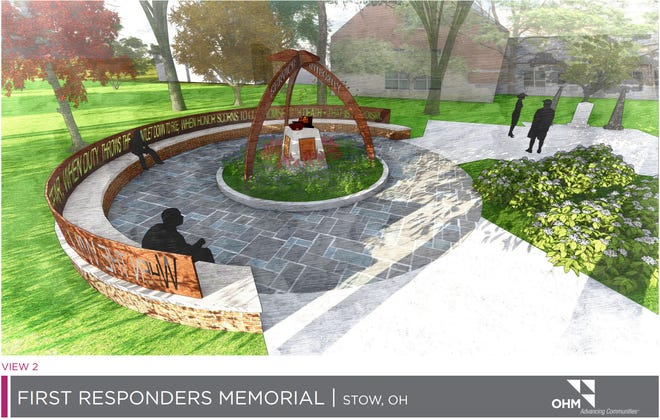 A rendering of the new proposed First Responders Memorial in front of the Stow Safety Building.
