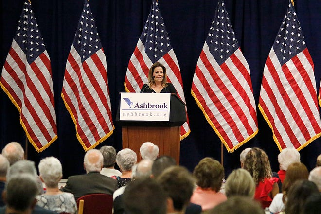 Fox News contributor Mollie Hemingway addresses the audience at the Ashbrook Major Issues Lecture Series luncheon on Wednesday.