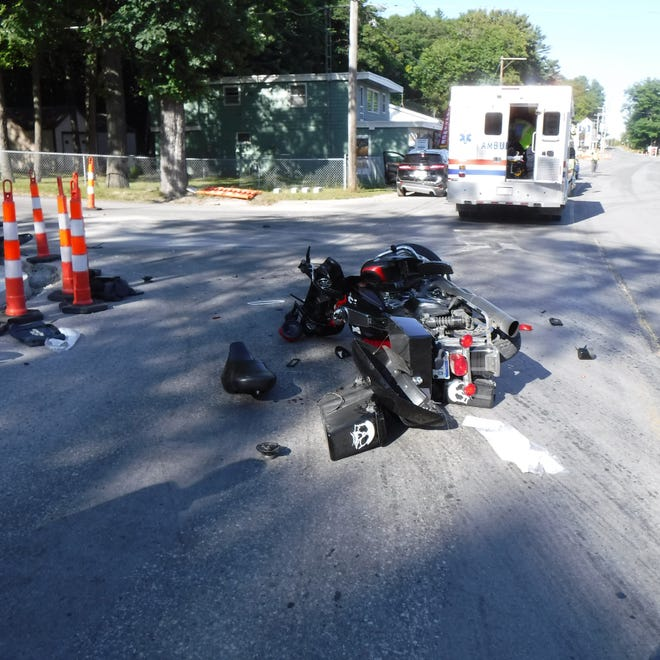 The two riders of this motorcycle received serious, non-life threatening injuries during an accident when another vehicle pulled in front of them because they did not see the motorcycle behind another turning vehicle. Neither rider was wearing a helmet.