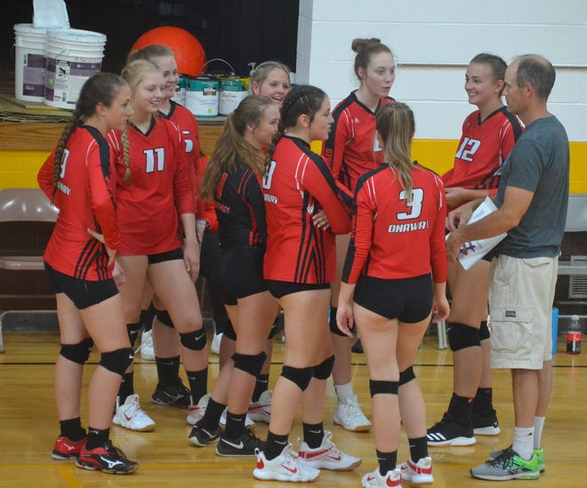 Head coach Steve Watson and the Onaway varsity volleyball team opened up Ski Valley Conference play with a home win over Central Lake on Tuesday.