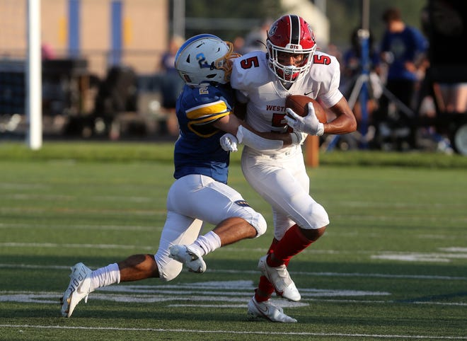 Jalen Wheeler had 110 yards receiving and one touchdown in Westerville South's 34-31 loss to Hilliard Darby on Sept. 3. The Wildcats play host to Dublin Scioto on Sept. 10 to open OCC-Capital action.