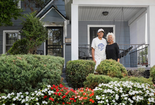 Perry and Linda Barfield stand outside the Linden neighborhood home where they've lived for the past 56 years and raised three daughters on Wednesday, Sept. 8, 2021.