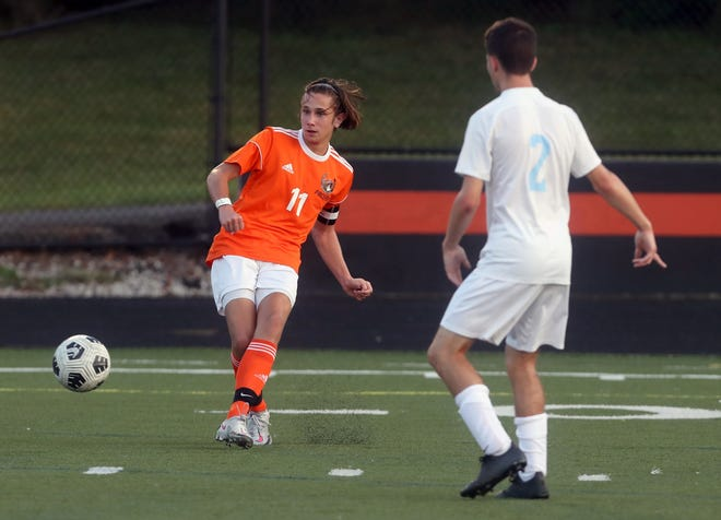 """Senior Dylan Ashworth had five goals and five assists through six games for Delaware Hayes, which has needed him to play multiple positions this season. Ashworth's goal, according to coach Robb Morgan, is """"to make sure that we walk out of here with a victory."""""""