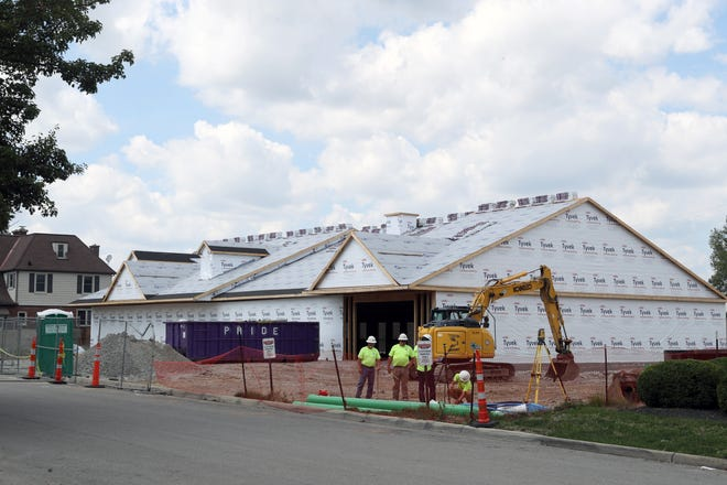 Construction continues Sept. 7 at West Church Street Properties' 8,100-square-foot, mixed-use building, 88 W. Church St. in Pickerington. The project is expected to be completed in November.