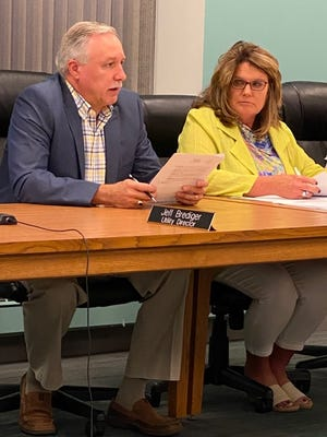 Jeff Brediger talks to council members about five projects that will take place in Orrville with grant money that has been applied for and would be used for water infrastructure upgrades.