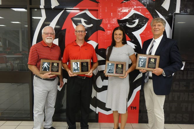 The 2021 ADM Athletic Hall of Fame inductees include, from left, Roger Schmiedeskamp, Todd Forret, Emily Madden and Joe O'Brien.