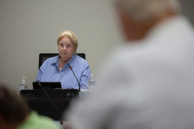 Maury Commissioner Sue Stephenson speaks during a committee meeting inside the Tom Primm Commission Meeting Room in Columbia, Tenn., on Tuesday, Sept. 7, 2021.