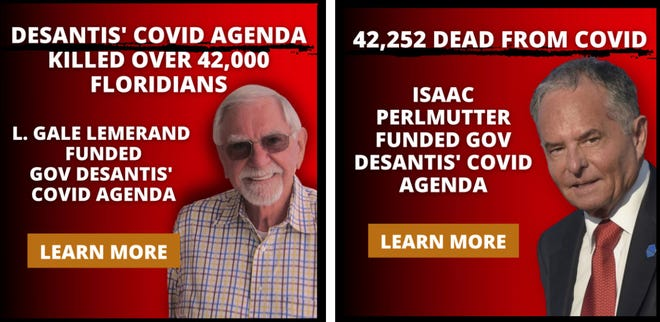 314 Action, a Washington-based PAC, has posted these social-media ads targeting neighbors of large-dollar donors of Gov. Ron DeSantis.