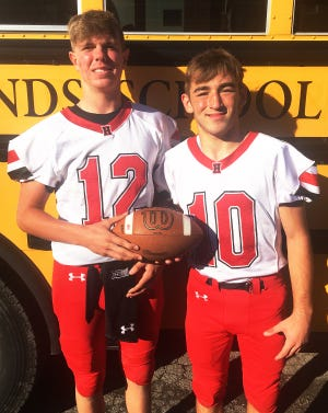 Honesdale's Dynamic Duo: Freshman quarterback Aiden Collins and senior wideout Kage Southerton … all smiles as they stepped off the bus following an electrifying LFC road win at Abington Heights.