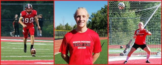 North Pocono's Jordan Carr is seeing action on both the gridiron and the pitch. The Trojan senior is in his third season as the football team's kicker and has moved from a defenseman to the goalkeeper for the soccer team.