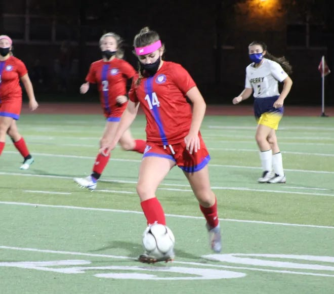 Hornell's Sophie Wilkins moves the ball up the field during a home contest during the 2020 season in Hornell.