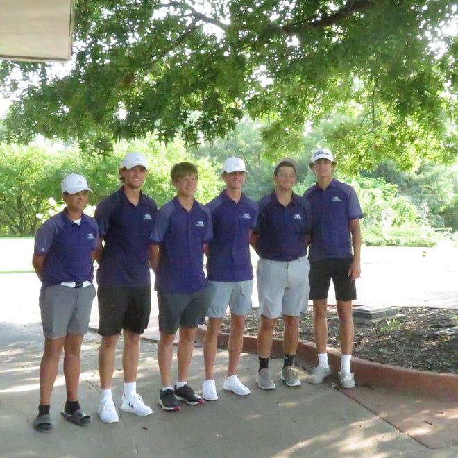The Burlington High School golf team, from left, Tomas Rascon, Brock Dengler, Tyce Bertlshofer, Nate Spear, Dayton Walsh and Mateo Rascon, won the Ottumwa Invitational Tuesday with a season-best 297 team total.