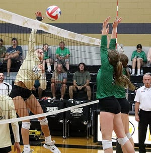 Whitewright's Ashton Long attacks the net during the Lady Tigers' victory against Tioga.