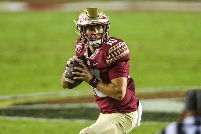 Florida State quarterback McKenzie Milton (10) during the second half of an NCAA football game against Notre Dame on Sunday, Sept. 5, 2021 in Tallahassee, Fla. (AP Photo/Gary McCullough)