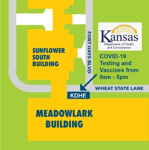 This map shows where the Kansas Department of Health and Environment will be set up on the Fairgrounds during the Kansas State Fair, offering free COVID-19 testing and vaccinations.