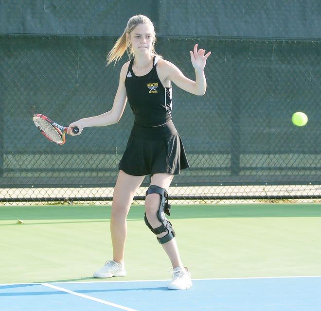 Newton senior Hallie Watkins competes in singles play Tuesday at the Newton Invitational.