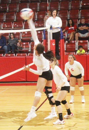 Crowley County High School's Destinee Ybarra goes up for a kill attempt in Tuesday's match against Holly Tuesday at Charger Gym. Ybarra had 11 kills in the Chargers' win.