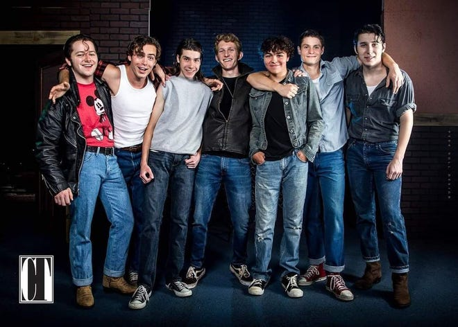 """The """"Greasers"""" in Cumberland Theatre's version of """"The Outsiders"""" include:  Jacob Hale (Two-Bit), Sky Nelson (Sodapop Curtis), Jace Courrier (Ponyboy Curtis), Dante Santos (Dallas Winston), Donny Ness (Johnny Cade), Reed Lancaster (Darry Curtis), and Hayden Shoemaker-Davis (Steve)."""