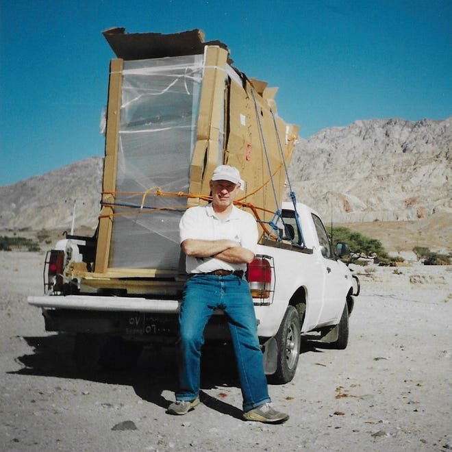 Joe Diaz of Carleton was in Egypt during the 9/11 attacks. Here he is seen while driving in Jordan. The license plate on the pickup identified him as an American.