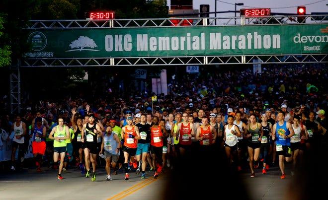 Runs start the Oklahoma City Memorial Marathon in Oklahoma City, Sunday, April 28, 2019.