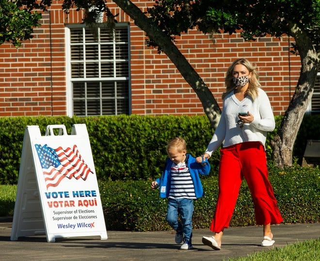 Katie Gilligan and her son Milo Gilligan, 2, exit precinct 0014 at the First Baptist Church of Ocala Tuesday morning, November 3, 2020 after voting. As of 10 a.m. Tuesday, 17,000 had voted on election day at 122 precincts and a total of 170,000 had cast votes in all methods. Lines were not backed up at polling precincts Tuesday morning, November 3, 2020. The busiest precincts in the morning were First Baptist Church of Ocala and Central Christian Church.  [Doug Engle/Ocala Star Banner]2020